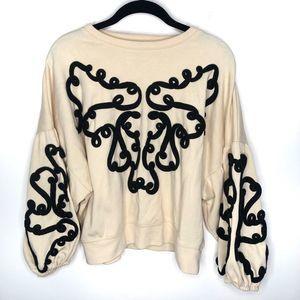 Zara | Cream Sweater Black Embroidering